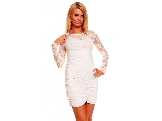Společenské šaty Lilian II krémově bílé s krajkou