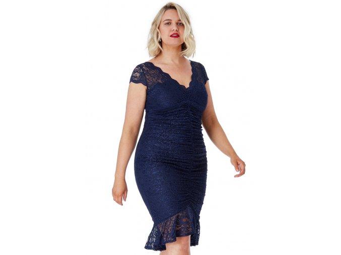 Koktejlové šaty pro plnoštíhlé Noelle tmavě modré