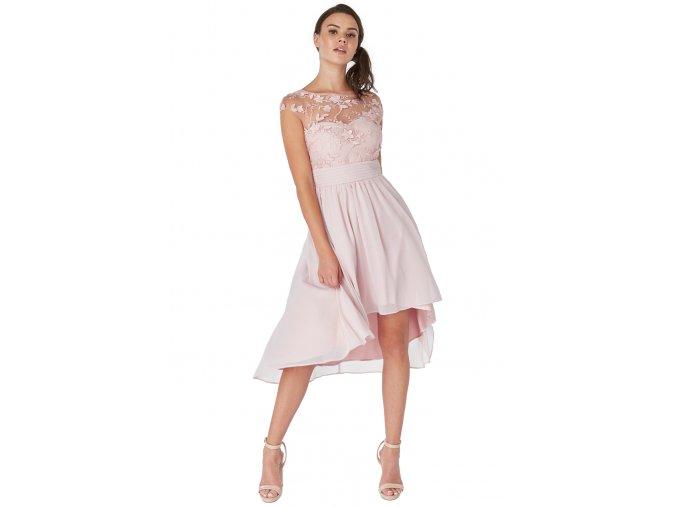 Luxusní společenské šaty pro plnoštíhlé Floretta III světle růžové