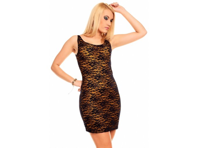 Šaty Dannie žluto-černé s krajkou