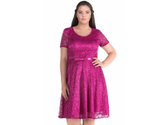 Společenské šaty pro plnoštíhlé Amber fuchsiové