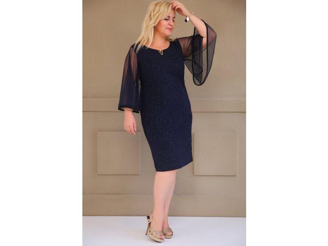 Společenské šaty pro plnoštíhlé Yvonne tmavě modré
