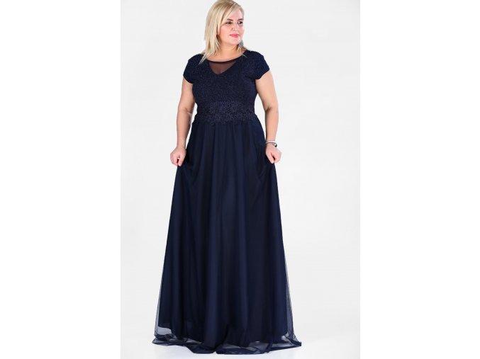 Společenské šaty pro plnoštíhlé Raimonda tmavě modré dlouhé