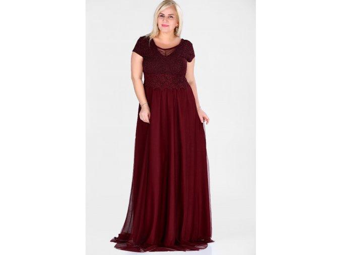 Společenské šaty pro plnoštíhlé Raimonda vínově červené dlouhé