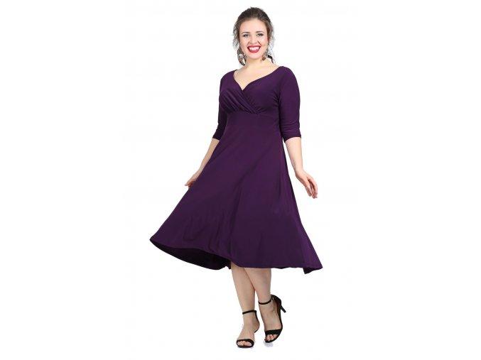 Společenské šaty pro plnoštíhlé Cassidy fialové