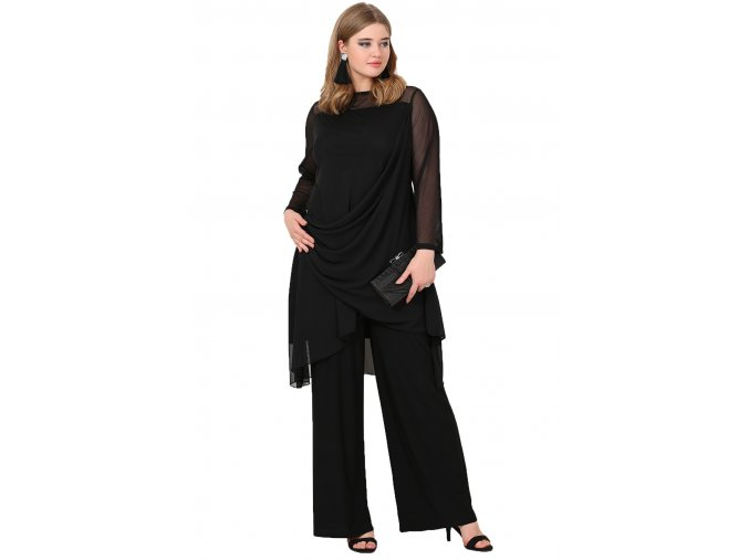 Společenský kalhotový kostýmek pro plnoštíhlé Lorelei černý
