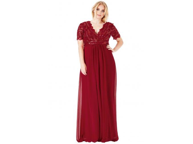 Luxusní společenské šaty pro plnoštíhlé Tiffanie vínově červené