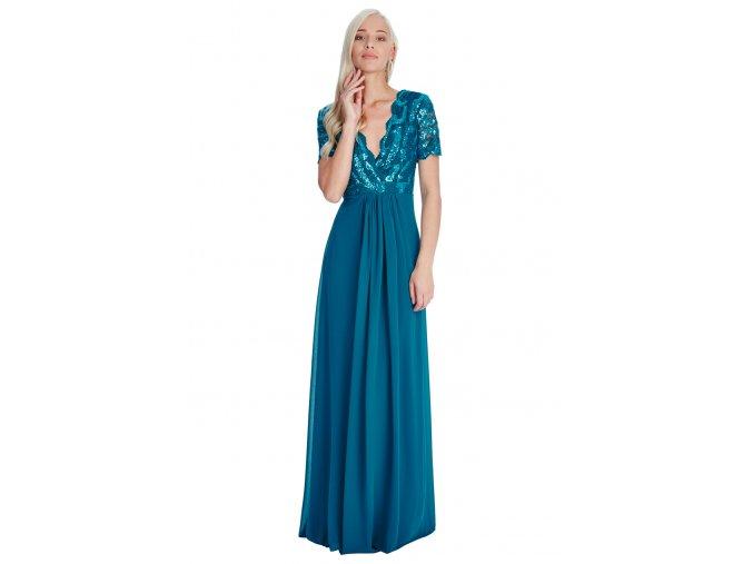 Luxusní společenské šaty Tiffanie petrolejové