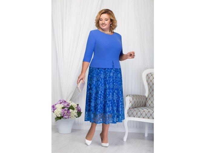 Luxusní společenské šaty pro plnoštíhlé Allegra modré