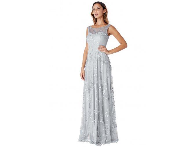 Společenské šaty Naomi světle šedé dlouhé