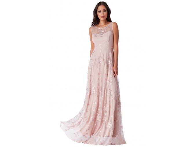 Společenské šaty Naomi pudrové dlouhé