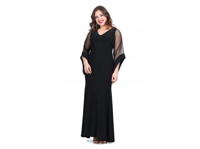 Společenské šaty pro plnoštíhlé Serafina černé dlouhé