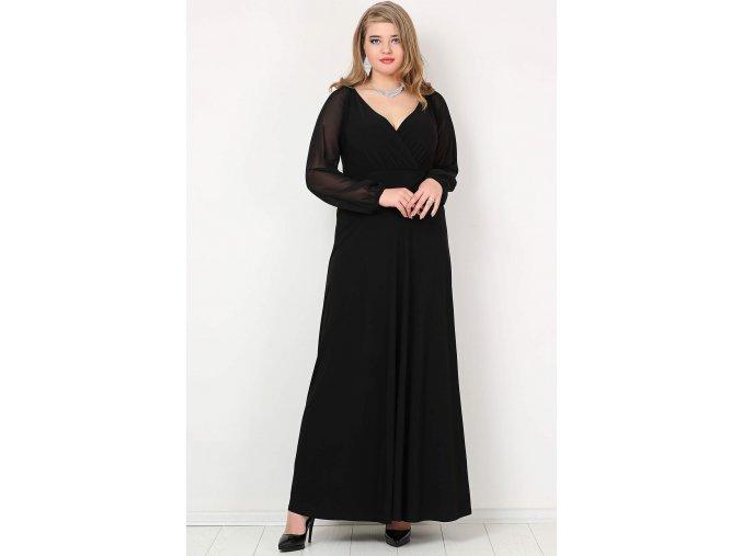 Společenské šaty pro plnoštíhlé Feliciana II černé dlouhé
