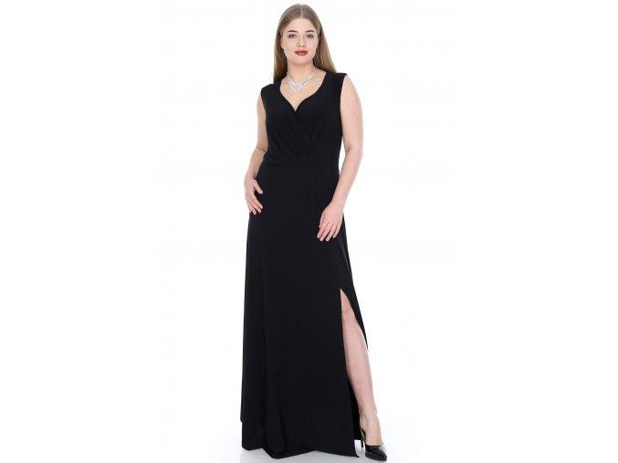 Společenské šaty pro plnoštíhlé Alessandra černé dlouhé