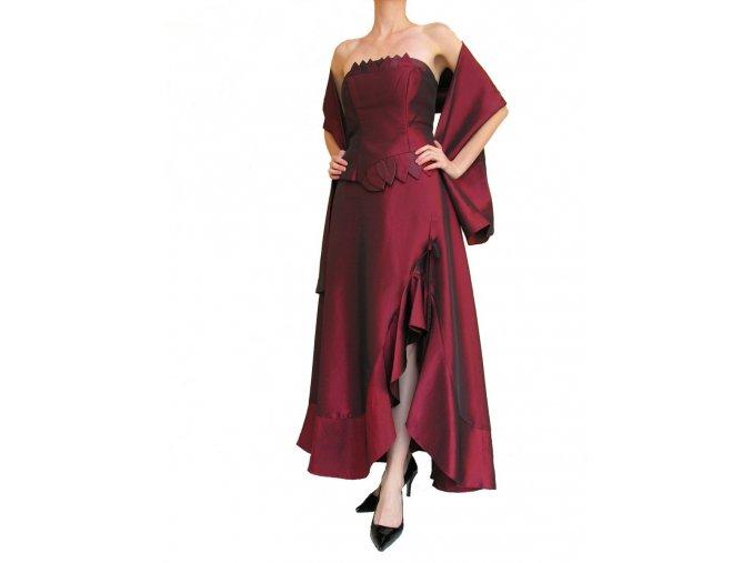 Dynasty luxusní společenské šaty Valencia vínově červené s šálou