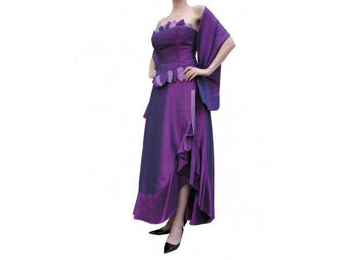 Dynasty luxusní společenské dlouhé šaty Valencia fialové s šálou