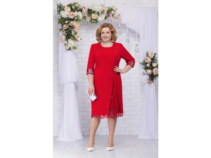 Luxusní společenské šaty pro plnoštíhlé Tiziana II červené