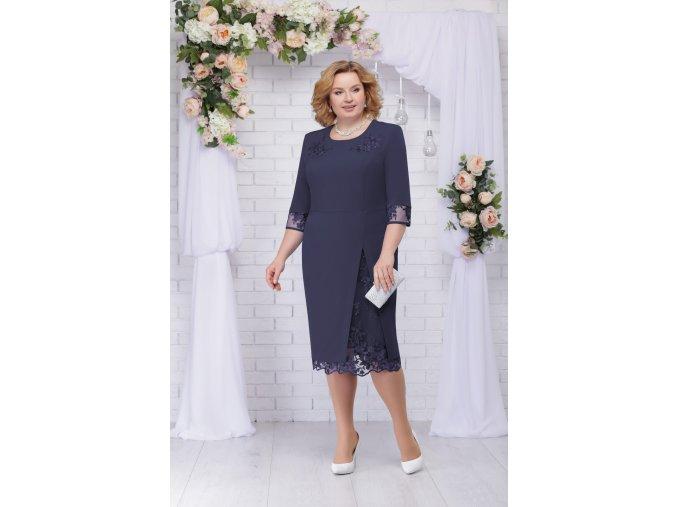 Luxusní společenské šaty pro plnoštíhlé Tiziana II tmavě modré