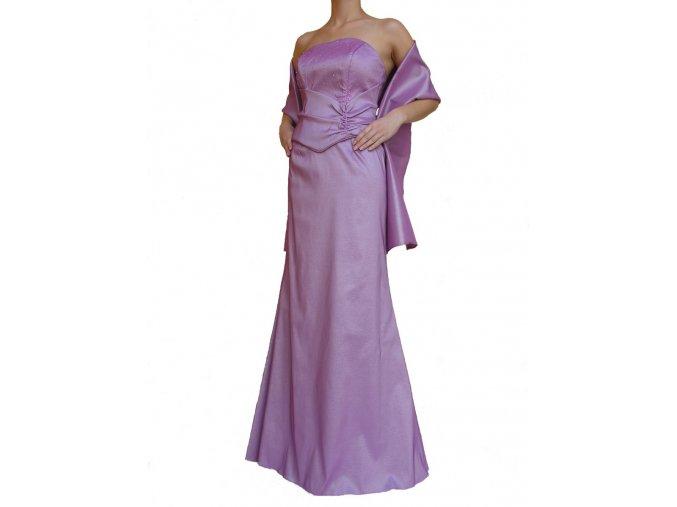 Dynasty luxusní společenské dlouhé šaty Victoria fialové s šálou