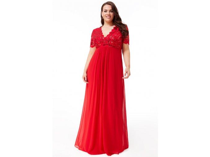 Luxusní společenské šaty pro plnoštíhlé Tiffanie červené