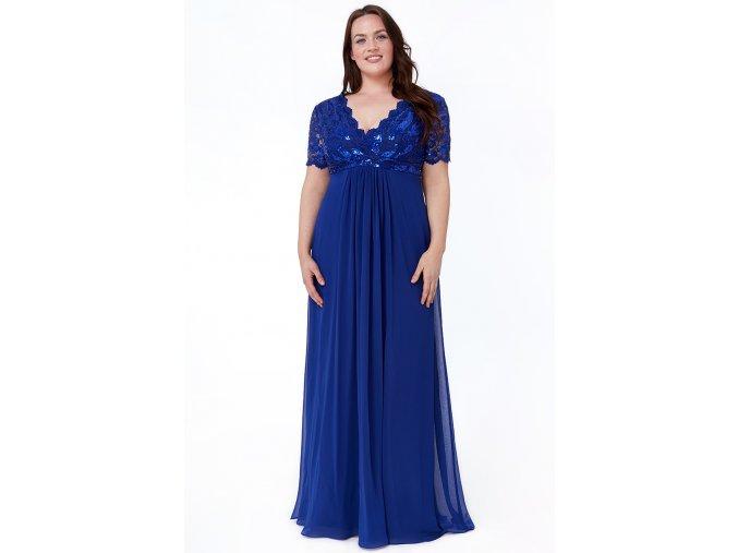 Luxusní společenské šaty pro plnoštíhlé Tiffanie modré