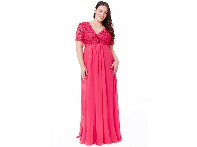 Luxusní společenské šaty pro plnoštíhlé Tiffanie fuchsiové