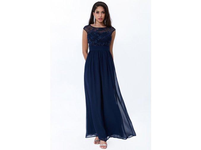 Luxusní společenské šaty Floretta I tmavě modré