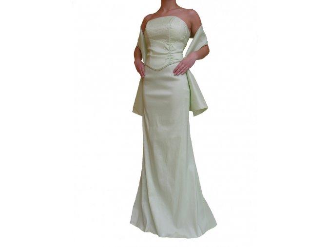 Dynasty luxusní společenské dlouhé šaty Victoria světle zelené s šálou