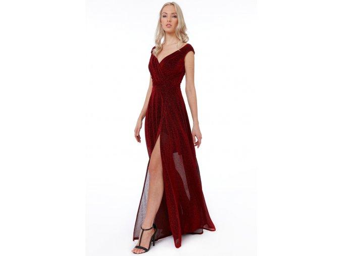 Luxusní společenské šaty Roxanna I vínově červené