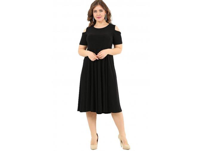 Společenské šaty pro plnoštíhlé Tanja II černé