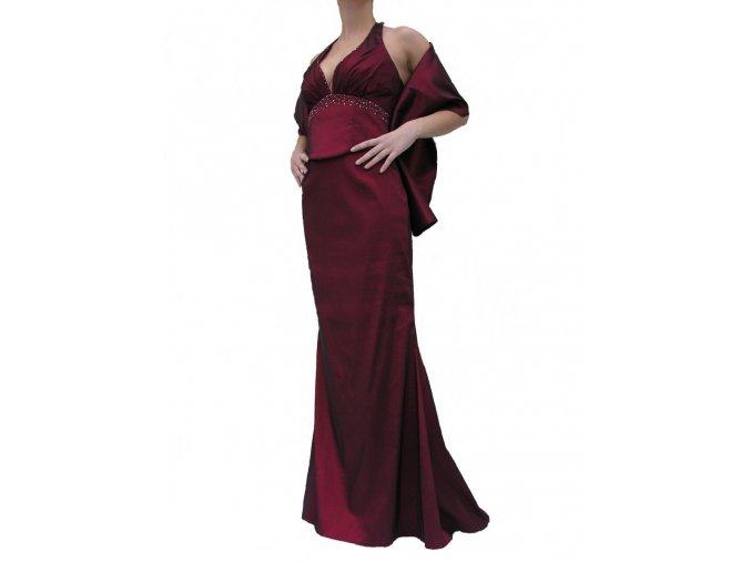 Dynasty luxusní společenské dlouhé šaty Rochelle vínově červené s šálou