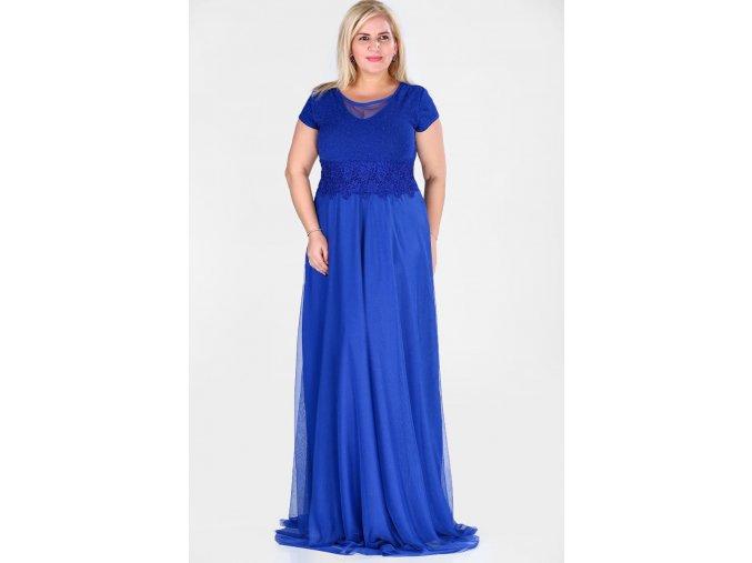 Společenské šaty pro plnoštíhlé Raimonda modré dlouhé