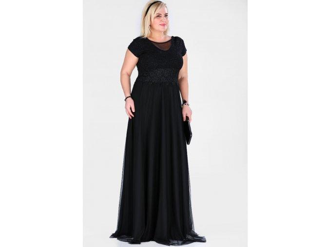 Společenské šaty pro plnoštíhlé Raimonda černé dlouhé