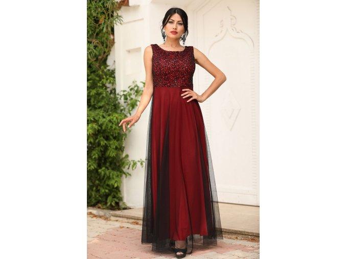 Společenské šaty Sherrie černo-červené