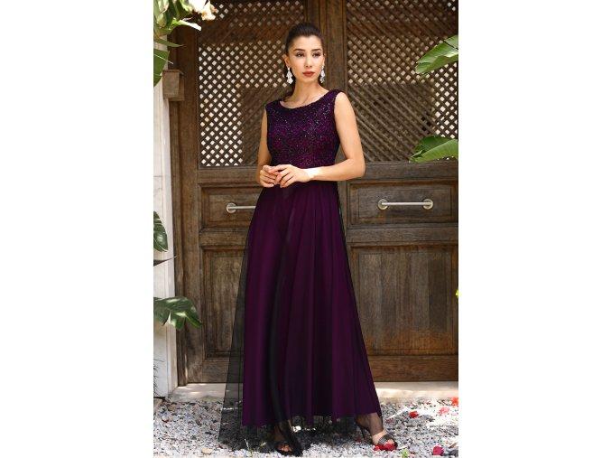 Společenské šaty Sherrie černo-fialové