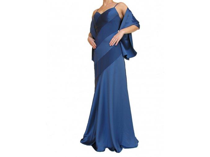 Dynasty luxusní společenské dlouhé šaty Paulette modré s šálou