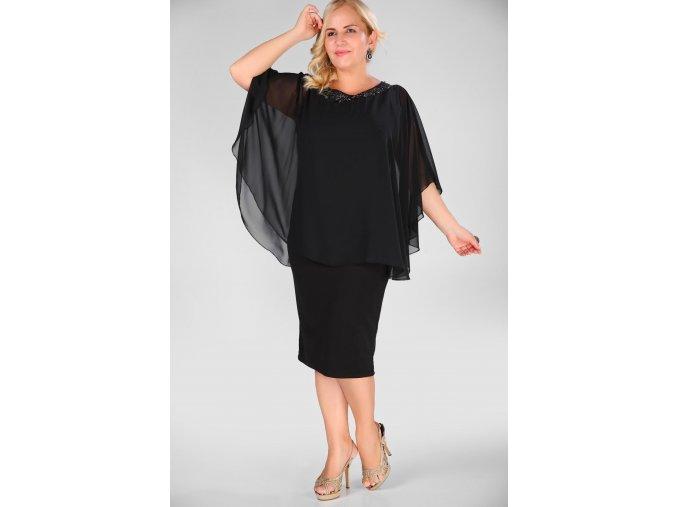 Společenské šaty pro plnoštíhlé Taylor černé