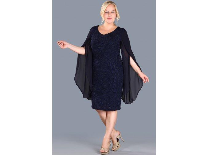 Společenské šaty pro plnoštíhlé Shannon tmavě modré