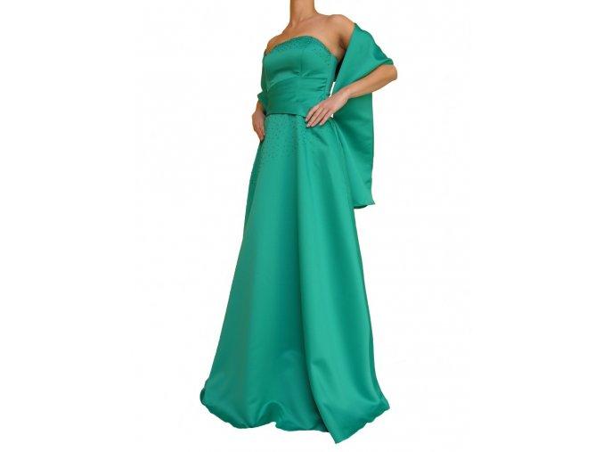 Dynasty luxusní společenské dlouhé šaty Minerva zelené s šálou