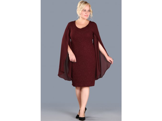 Společenské šaty pro plnoštíhlé Shannon vínově červené