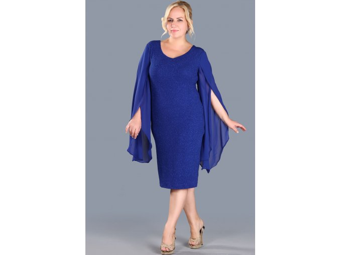Společenské šaty pro plnoštíhlé Shannon modré