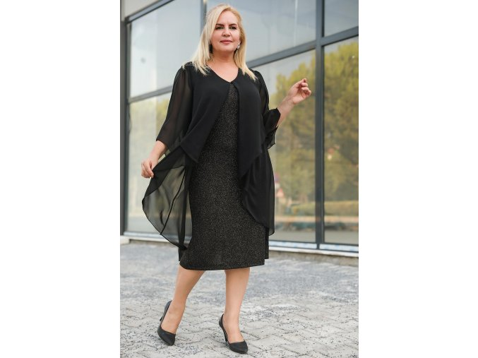 Společenské šaty pro plnoštíhlé Tarsha černé