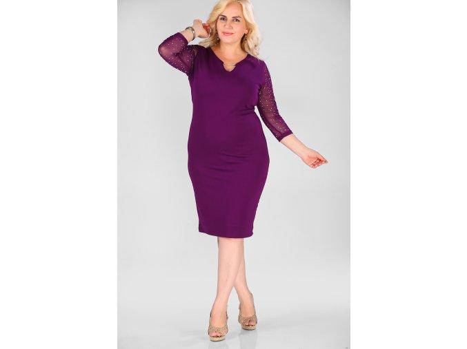 Společenské šaty pro plnoštíhlé Tonia fialové