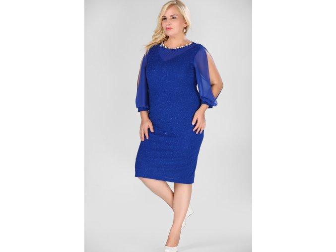Společenské šaty pro plnoštíhlé Tosha modré
