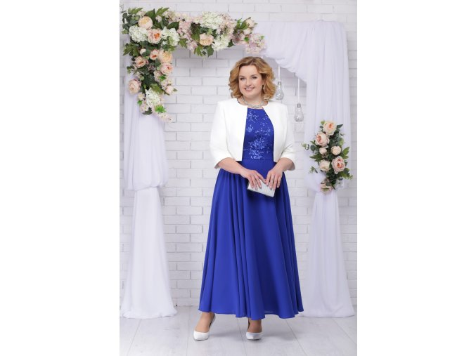 Luxusní společenské šaty pro plnoštíhlé Eugenia II modré dlouhé s bílým kabátkem