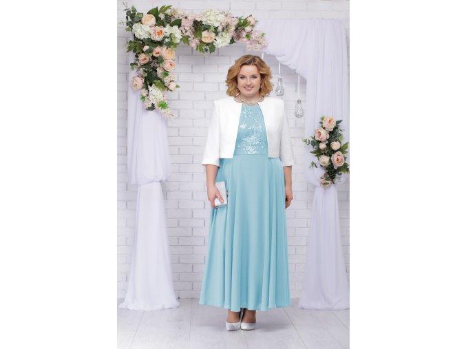 Luxusní společenské šaty pro plnoštíhlé Eugenia II světle modré dlouhé s bílým kabátkem