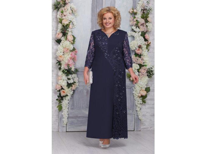 Luxusní společenské šaty pro plnoštíhlé Marciana tmavě modré dlouhé