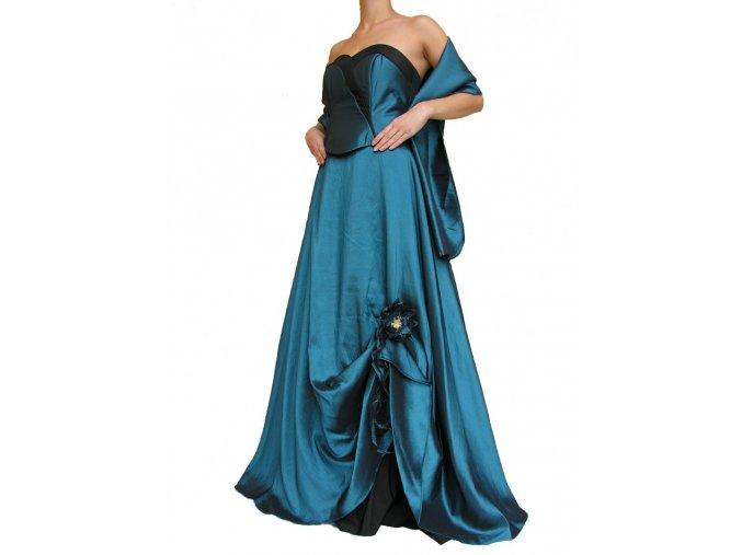 Dynasty luxusní společenské dlouhé šaty Meredith modrozelené s šálou