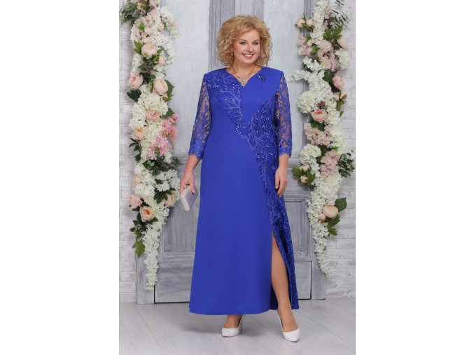 Luxusní společenské šaty pro plnoštíhlé Marciana modré dlouhé