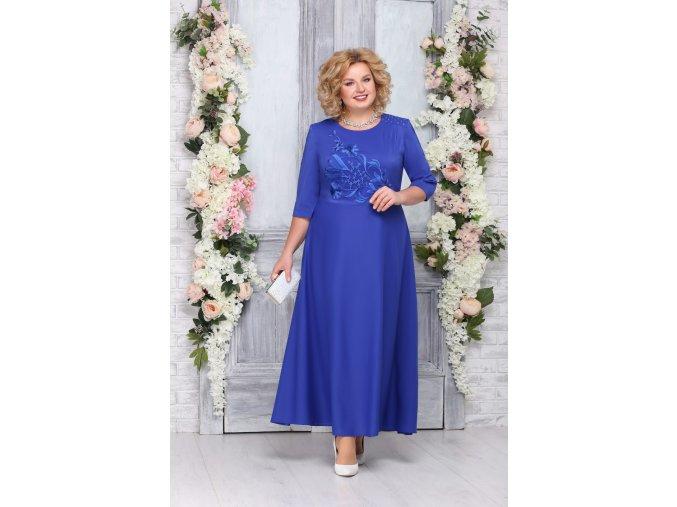 Luxusní společenské šaty pro plnoštíhlé Clementine modré dlouhé